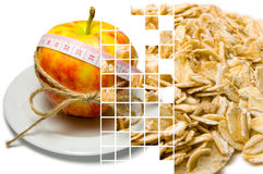 Collage of apple surrounding of measuring tape tied with twine a Royalty Free Stock Photo