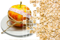 Collage of apple surrounding of measuring tape tied with twine a. Nd oat flakes closeup on different layers separated by mixing layers transparent squares. Red royalty free stock photography