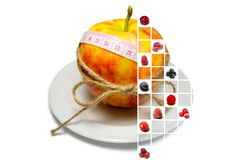 Collage of apple surrounding of measuring tape tied with twine w Stock Images