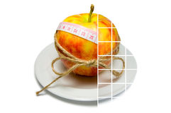 Collage of apple surrounding of measuring tape tied with twine w Stock Photography
