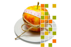 Collage of apple surrounding of measuring tape tied with twine w Royalty Free Stock Image