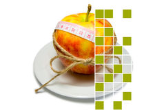 Collage of apple surrounding of measuring tape tied with twine w Royalty Free Stock Photos