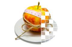 Collage of apple surrounding of measuring tape tied with twine w Stock Image