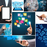 Collage of application connection in the global social networks Stock Photography