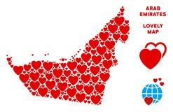 Collage arabe de carte d'émirats d'amour de vecteur des coeurs Image stock
