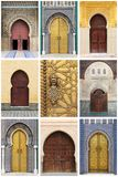 Arabic oriental styled doors. Collage of arabic oriental styled doors Stock Images