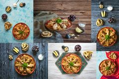 Collage with Arabic traditional food bowls Kabsa with meat. Collage with Arabic traditional food bowls Kabsa with meat stock image
