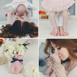 Collage, arms,legs,mother and child Royalty Free Stock Image