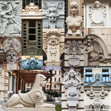 Collage of art nouveau sculptures of Riga Royalty Free Stock Photo