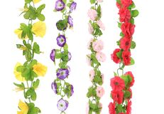 Collage of artificial flowers. Close up. Royalty Free Stock Image