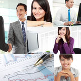 Collage of asian business people. Business collage of teamwork and asian business people Royalty Free Stock Photo