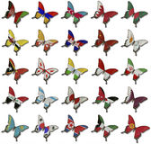 Collage from Asian flags on butterflies Stock Image