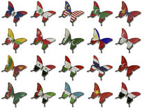 Collage from Asian flags on butterflies Stock Images
