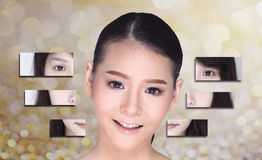 Collage of Asian Woman make up hair style, plastic surgery, graphic face splitting difference visual style. Studio lighting gold royalty free stock photo