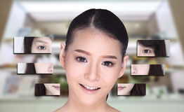 Collage of Asian Woman make up hair style, plastic surgery, stock image