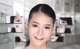 Collage of Asian Woman make up hair style, plastic surgery,. Graphic face splitting difference visual style. Studio lighting blur clinic hospital background royalty free stock photos