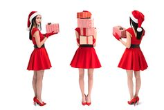 asian woman with christmas gifts royalty free stock images