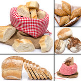 Collage of assortment of bread. Isolated on white Stock Image