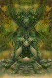 Collage astratto del fondo con il motivo psichedelico nei toni verdi Fotografie Stock
