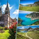 Collage of Asturias Spain Europe.  Stock Photo