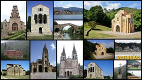 Collage of Asturias in Spain Stock Photo