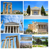 Collage of Athens Greece - ancient landmarks of Athens Greece Royalty Free Stock Photos