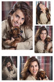 Collage Attractive woman playing with dog Stock Image