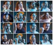 Collage au sujet des émotions des passionés du football observant le football à la TV Image stock
