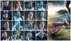 Collage au sujet des émotions des passionés du football observant le football à la TV Photo libre de droits