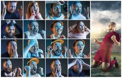 Collage au sujet des émotions des passionés du football observant le football à la TV Image libre de droits
