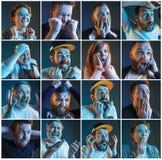 Collage au sujet des émotions des passionés du football observant le football à la TV Photo stock
