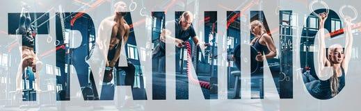 Collage au sujet des exercices dans le gymnase de forme physique photo stock