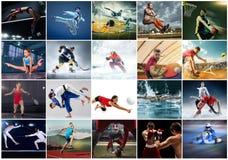 Collage au sujet du genre diff?rent de sports photographie stock
