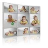 Collage auf Weiß als Fernsehapparat vom Kind vieler Fotos Stockbilder
