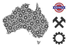Collage Australia Map of Repair Tools. Repair service Australia map collage of service tools. Abstract territory scheme in gray color and best quality badge stock illustration