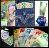 Collage australiano del dinero Imagen de archivo