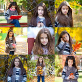 Collage, Autumn beauty little girl Royalty Free Stock Image
