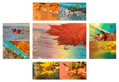 Collage of autumn with drops and leaf Stock Image