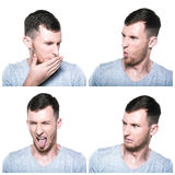Collage av äcklade framsidauttryck Royaltyfria Foton