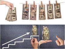 Collage av affärsbilder Finansiellt begrepp, bakgrund royaltyfri fotografi