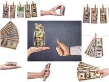 Collage av affärsbilder Finansiellt begrepp, bakgrund arkivfoton