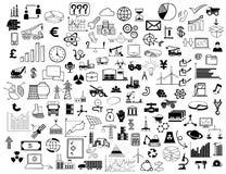 Collage av affärssymboler royaltyfri bild