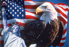 Collage av amerikanska symboler Royaltyfri Fotografi
