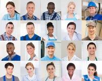 Collage av arbetaren fotografering för bildbyråer