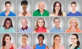 Collage av att le folk arkivbild