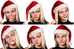 Collage av att le kvinnan i röd christmasshatt Royaltyfri Fotografi