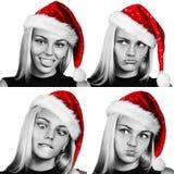 Collage av att le kvinnan i röd christmasshatt royaltyfria bilder
