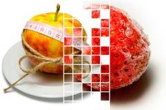 Collage av att omge för äpple av att mäta bandet som binds med, tvinnar a Arkivfoton
