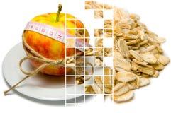 Collage av att omge för äpple av att mäta bandet som binds med, tvinnar a Arkivbilder