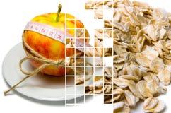 Collage av att omge för äpple av att mäta bandet som binds med, tvinnar a Arkivbild